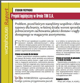Logistic project at company TIM S.A. - case study (PL)