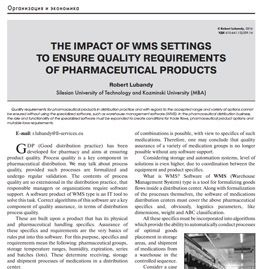 The impact of WMS settings to ensure quality requirements of pharmaceutical products (PL)